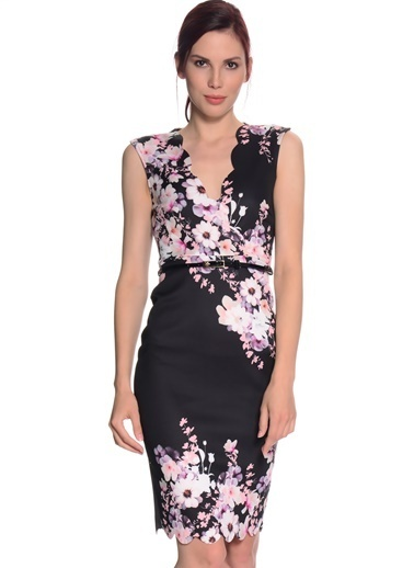 Lipsy Çiçek Desenli Dar Elbise Renkli